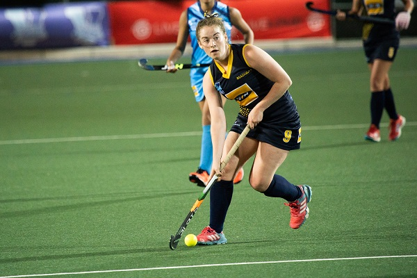 Madibaz player Sinead Walsh controls possession during a match in the Varsity Hockey tournament played at North-West University in Potchefstroom last weekend. Photo: Luke Thorrold