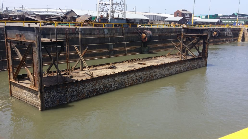 The Prince Edward Graving Dock's inner caisson is presently undergoing repair.