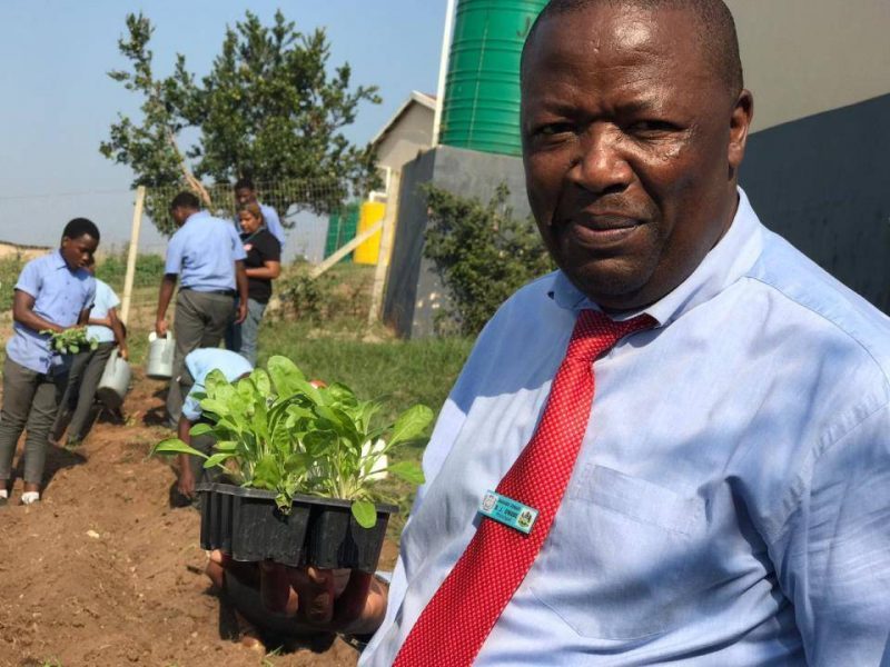 Principal Dumisane Qwabe of Emakheni Primary School was full of gratitude as he oversaw the landscaping of the new vegetable garden.